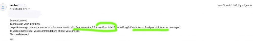 exemple de dossier Transitions Pro accepté Fongecif lettre de motivation rempli